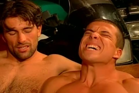 Muscled Biker fellows coarse And raw bang Feast gay fuckfest