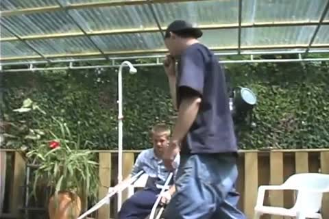 Handicapped guy receives Outdoor oral stimulation