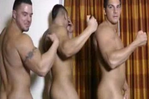 3 Hunks stroking And Showering