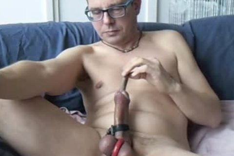A nice Masturbating Edging Session By Electro Stimulation, Sounding And Sniffing Poppers.